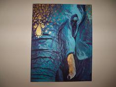 Original Elephant Painting on Canvas Africa Fantasy by Nesha Bowman BYU-I Artist on Etsy, $139.99