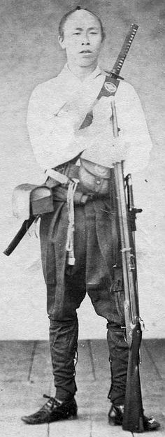 Samurai with western style rifle and back mounted sword by Ueno Hikoma late 1860s (possibly the Boshin war).