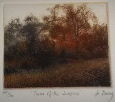 """Jo Barry coloured etching limited edition signed """"Turn of the Seasons"""" landscape"""