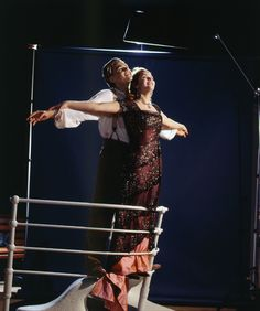 Leo and Kate sharing a smile on the set of Titanic -- and mimicking an iconic scene of theirs!