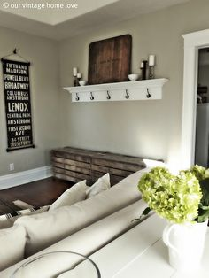 Love the rustic wood touches with the black and white