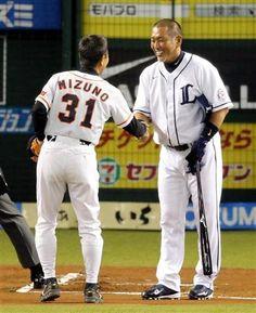 Katsuhito Mizuno (Yomiuri Giants) and Kazuhiro Kiyohara (Seibu Lions)