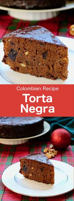 Torta negra is a chocolate cake prepared with dried fruits macerated in alcohol, that is very popular during Christmas throughout Latin America. Colombian Cuisine, Colombian Desserts, Colombian Recipes, South American Dishes, Chocolate Recipes, Chocolate Cake, Christmas Desserts, Christmas Chocolate, Christmas Christmas