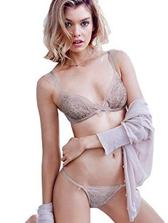 Victorias Secret Womens DREAM ANGELS Jewel Unlined Plunge Demi Bra Thong Set >>> Be sure to check out this awesome product.