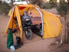 Camp with a motorcycle! how cool! @Catherine Richmeier-Shafer