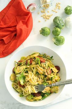 Brussel Sprout and Chorizo Zucchini Pasta with Toasted Pine Nuts