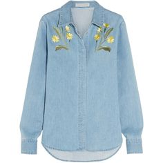 Stella McCartney Theres embroidered stretch-denim shirt (€635) ❤ liked on Polyvore featuring tops, shirts, blue, shirts & tops, loose fitting tops, loose tops, blue floral top and blue floral shirt