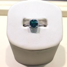 Sterling silver May birthstone ring w/ synthetic emerald #jewelry #ring #May #birthstone
