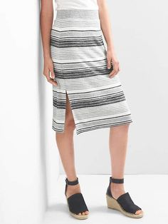 7c3e9b5843 Softspun stripe midi skirt Gap Women, Black Midi Skirt, Slit Skirt, Grey  Stripes