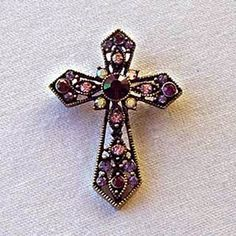 "Platinum-Plated Swarovski Crystal Enamel ""Cross"" Pin/ Brooch (1/2"" x 3 1/4"") - Gift Boxed Sea of Diamonds. $35.00"