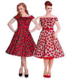 ... Dresses > 50's dresses > Hell Bunny 50's Cordelia Poppy Floral Dress