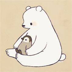Cute Polar Bear, Teddy Bear, Polar Bears, Polar Bear Drawing, Polar Bear Illustration, Cute Frogs, Kawaii Cute, Artist Names, Animal Drawings