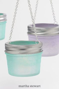 Upcycle canning jars into colorful hanging votives. These make for great patio or bathroom décor. #marthastewart #crafts #diyideas #easycrafts #tutorials #hobby Fairy Lights In A Jar, Jar Lights, Crafty Projects, Easy Projects, Canning Jars, Mason Jars, Recycled Jars, Upcycled Crafts, Jar Crafts