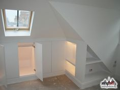 Loft conversion case study in Putney, London Front dormer loft conversion creating bedroom with ensuite. Clever storage solutions with lights. New staircase to loft. Attic Apartment, Attic Rooms, Attic Spaces, Attic Playroom, Attic Library, Office Playroom, Eaves Storage, Loft Storage, Office Storage