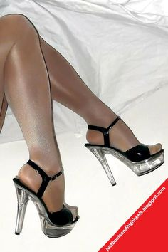 Pretty black sandals with transparent platform. They are combined with a shiny suntan tights to showing off your legs. You could match them with a black min dress. High Heels Stilettos, Stiletto Heels, Polished Toes, Toe Polish, Beautiful Sandals, Pretty Black, In Pantyhose, Black Sandals, Tights