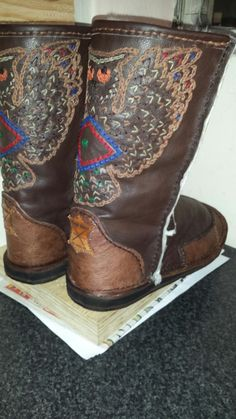 Native American astrology sign for Sagittarius  (owl) bovine Nappa and sheepskin lined boots.