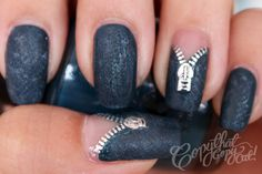 Denim Zipper Nails - the zippers are water decals so even someone like me can do this manicure!!