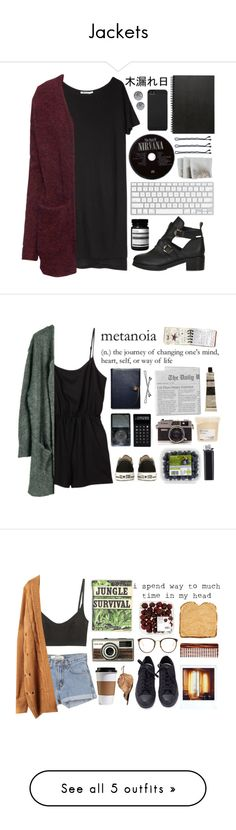 """""""Jackets"""" by mariana4 ❤ liked on Polyvore featuring moda, Topshop, Aesop, Muji, Guide London, Incase, Karl Lagerfeld, T By Alexander Wang, H&M y Converse"""