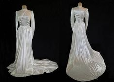 1930s Vintage  Vintage Wedding Gown  Satin Wedding Gown With