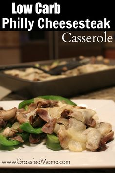 low carb casserole, easy low carb dinner, healthy casserole, trim healthy mama casserole, healthy philly cheesesteak.  ...I'm thinking this might work just as well with ground turkey in place of the beef. Gonna try it.