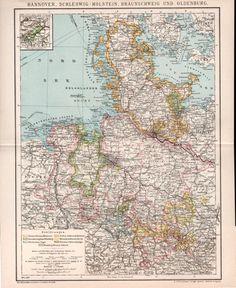 1884 Kiel Germany Antique Map Bay of Kiel Kieler by Craftissimo