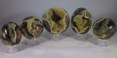 Set of 5 Hollow Septarian Nodule Pieces from Utah ( 3 Spheres & 2 Eggs )