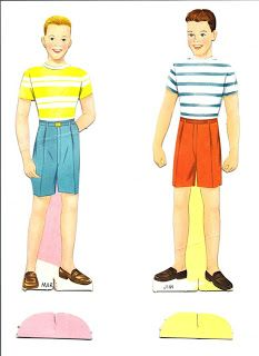 I found them! Mart and Brian paper dolls. I didn't see these when I found the others, but they, too, look unusually childish for 14 and 15.