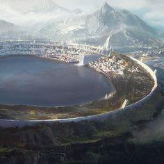 Nuadan Chronicles - Eolann City, Leon Tukker - My list of the most beautiful artworks Foto Fantasy, Fantasy City, Fantasy Castle, Fantasy Places, High Fantasy, Medieval Fantasy, Fantasy World, Futuristic City, Futuristic Architecture