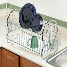 Two-Tier Stainless Steel Dish Rack - Zoom