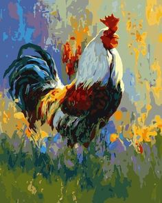 The painting style in the background check out chicken art Rooster Painting, Rooster Art, Oil Painting On Canvas, Painting & Drawing, Watercolor Paintings, Canvas Wall Art, Chicken Painting, Chicken Art, Arte Do Galo