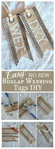 NO SEW BURLAP WEBBING TAG DIY- Make your own great tags with step-by-step directions