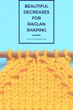 Beautiful Mirrored Decreases for Raglan Lines and Other Types of Tapered Shaping Knitting Stiches, Easy Knitting Patterns, Knitting Kits, Knitting Projects, Crochet Stitches, Baby Knitting, Knitting Tutorials, Knitting Help, Stitch Patterns