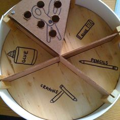 Supply organizer for the tables in my classroom. I used the lazy susan sold at IKEA and made dividers. The kids love it!