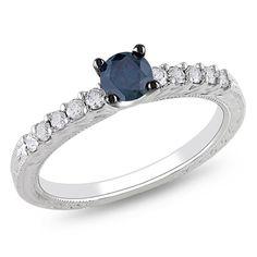 {I do! I do!} Blue & White Diamond Engagement Ring 14K White Gold