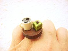 Miniature Food Ring Coffee Green Tea Cake by SouZouCreations