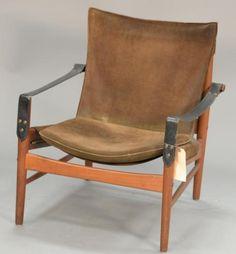 Swedish Safari Chair By Hans Olsen Suede, Signed Mvis Amobler Kinna Design.