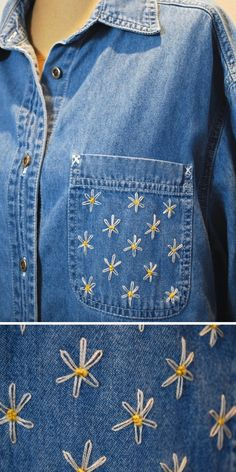 Hand Embroidered Denim Shirt with Daisy Flowers - Source by kylee_neace - Denim Jacket Embroidery, Embroidered Denim Shirt, Embroidery On Clothes, Shirt Embroidery, Embroidered Clothes, Embroidery Fashion, Embroidered Flowers, Embroidery Designs, Patterned Jeans