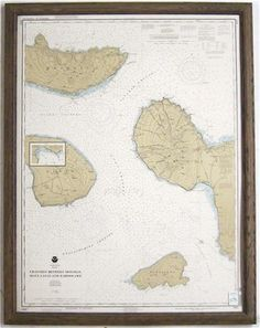 "NAUTICAL CHART: ""Channels Between Molokai, Maui, Lanai and Kahoolawe."""