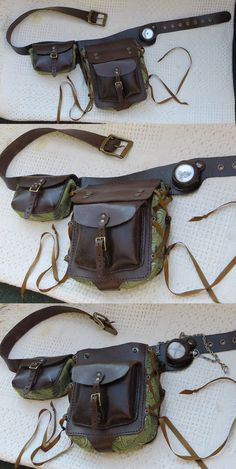 Modular belt pouch side A! by danaan-dewyk. on - Modular belt pouch side A! by danaan-dewyk.devi… on La mejor imagen sobre healthy lun - Steampunk Costume, Steampunk Fashion, Steampunk Belt, Crea Cuir, Steampunk Accessoires, Hip Bag, Leather Projects, Leather Pouch, Diy Leather Utility Belt