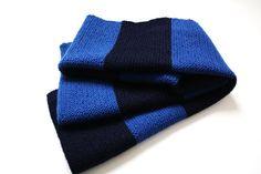 Huge navy and cobalt blue striped shawl by Tekhla Berlin