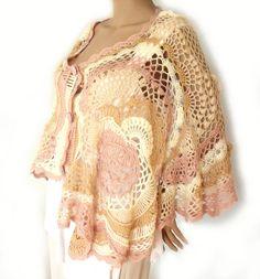 Crochet cape Crochet poncho Freeform crochet by allmadewithlove
