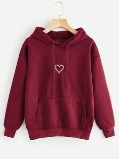 Read more The post Shop Heart Print Drawstring Kangaroo Pocket Hoodie online. ROMWE offers Heart Pr… appeared first on How To Be Trendy. Hoodie Sweatshirts, Pullover Hoodie, Sweater Hoodie, Hoody, Cute Hoodie, Hoodie Jacket, Stylish Hoodies, Unique Hoodies, Cool Hoodies