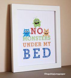 No Monsters Under My Bed Art Print Nursery Art by HopSkipJumpPaper