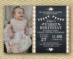 1st Birthday Invitation - Shabby Chic Tea Party Chalkboard Photo Card