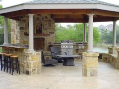 outside brick gazebo built in bbq pit and bar by the lake!