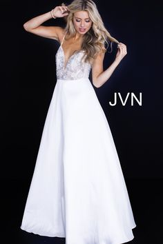 JVN by Jovani JVN51328 Satin Ball Gown with Short Embellished Top ca834f07c
