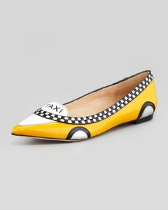 Black or white skinny pants with a white crisp blouse and these flats.  Kate Spade: Neiman+Marcus.