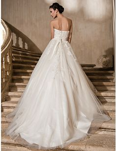 Ball Gown Strapless Cathedral Train Lace And Tulle Wedding Dress, bridesmaid dresses Free shipping, wedding dresses, a line wedding dresses 8fdee34a