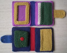 Coin and Card Wallet-This pattern is available as a free Ravelry download. This knitted wallet has covers strengthened with plastic canvas and can hold cards, coins or a photograph. Instructions are included for all these inserts so you can choose your own combination. The little coin purse can also be knitted on its own, perhaps with a cord so that it can be worn round the neck.