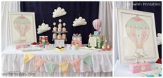 Baby Shower party decorating with wall decals. Hot Air Ballon fabric decals from Wallternatives™. Via Swish Printables